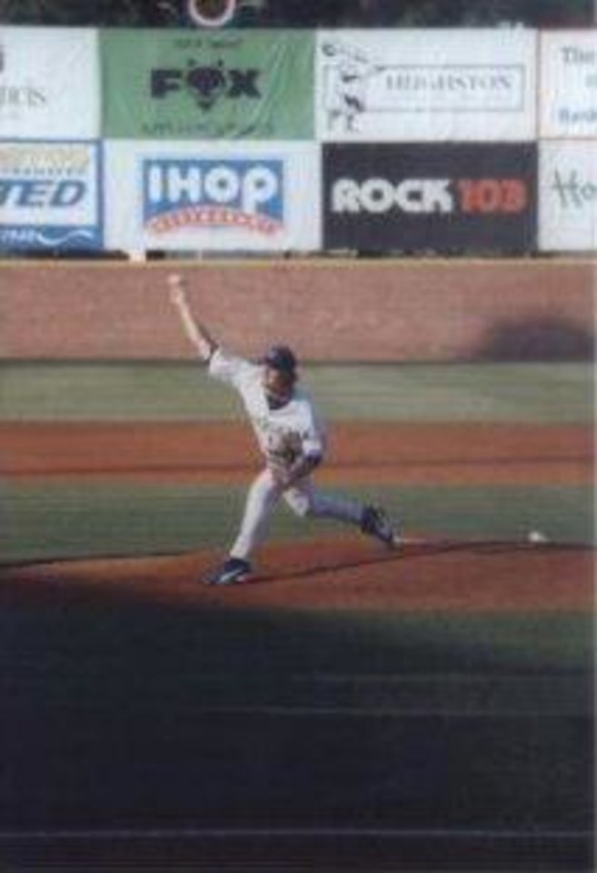 Brandon Weeden pitching in a minor league baseball game. PHOTO PROVIDED