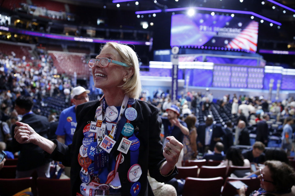 Photo - North Carolina delegate Elli Klein arrives at Wells Fargo Arena before the start of the first day of the Democratic National Convention in Philadelphia, Monday, July 25, 2016. (AP Photo/Matt Rourke)