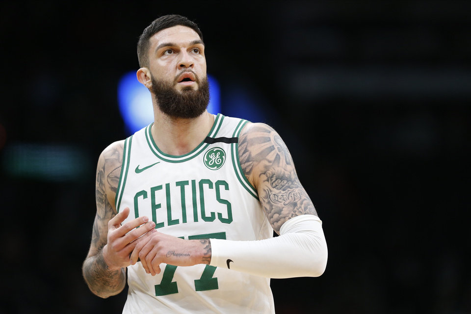 Photo - Jan 13, 2020; Boston, Massachusetts, USA; Boston Celtics center Vincent Poirier (77) reacts during the second half against the Chicago Bulls at TD Garden. Mandatory Credit: Greg M. Cooper-USA TODAY Sports