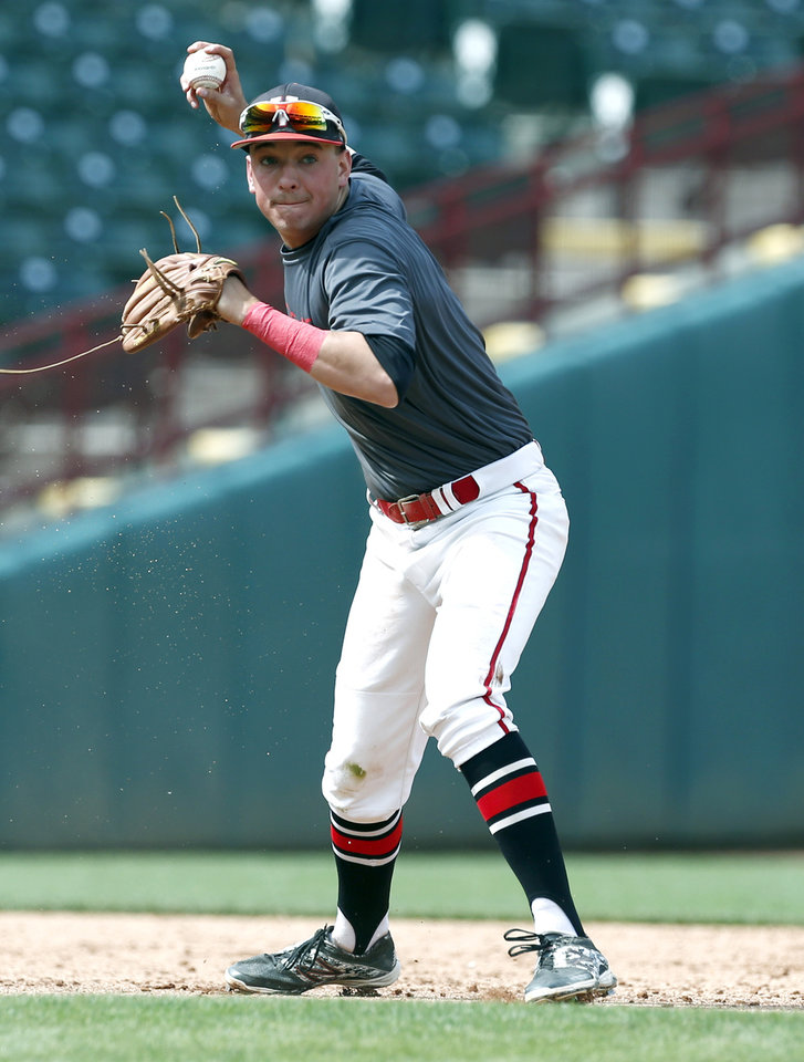 Photo - Verdigris' Ryan Skalnik throws to first during the class 3A state baseball championship game between Kansas and Verdigris at the Chickasaw Bricktown Ballpark in Oklahoma City, Saturday, May 17, 2014. Photo by Sarah Phipps, The Oklahoman