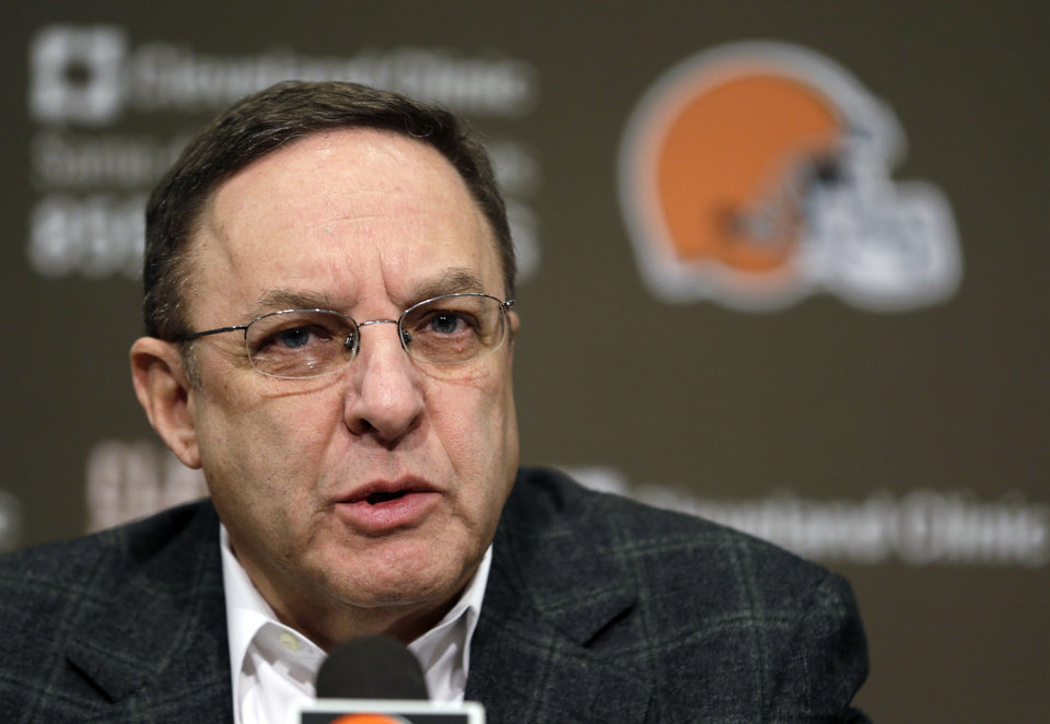 Photo - Cleveland Browns CEO Joe Banner answers questions during a news conference at the Browns' NFL football training facility Monday, Dec. 31, 2012, in Berea, Ohio. One day after ending yet another dismal season with a loss in Pittsburgh, Cleveland fired coach Pat Shurmur and general manager Tom Heckert, the first moves in what is expected to be a massive offseason overhaul by new owner Jimmy Haslam. (AP Photo/Tony Dejak)
