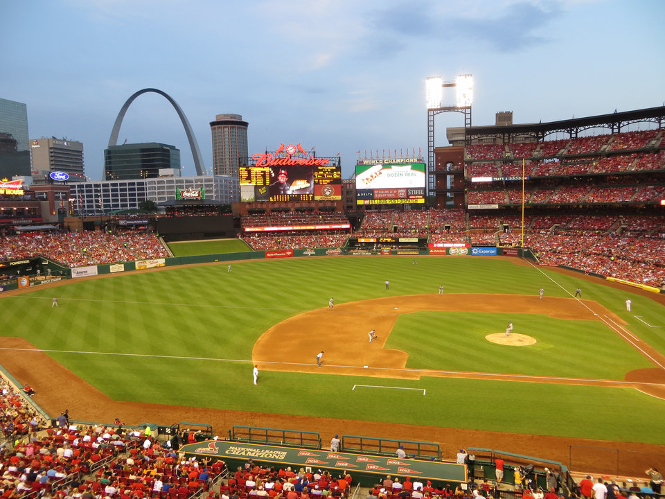 Photo -  Great baseball and a great view at Busch Stadium. Photos by Elaine Warner, for The Oklahoman