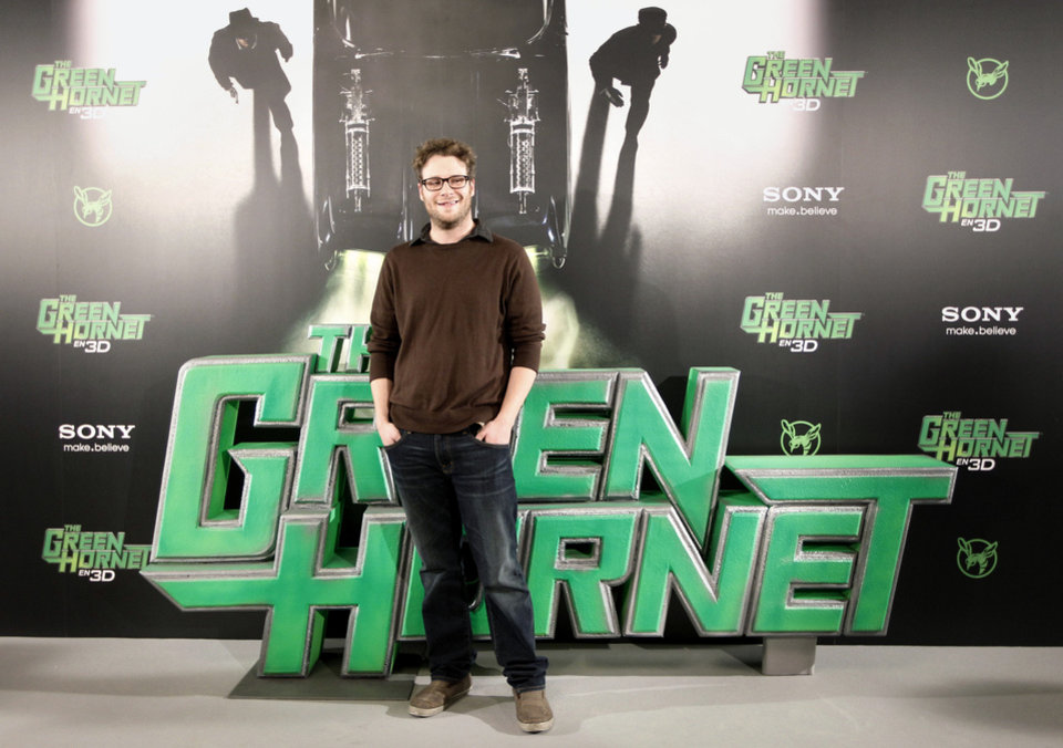 US actor Seth Rogen poses as he attends the photocall for the movie 'The Green Hornet' in Madrid, Thursday, Dec. 2, 2010. (AP Photo/Daniel Ochoa de Olza)