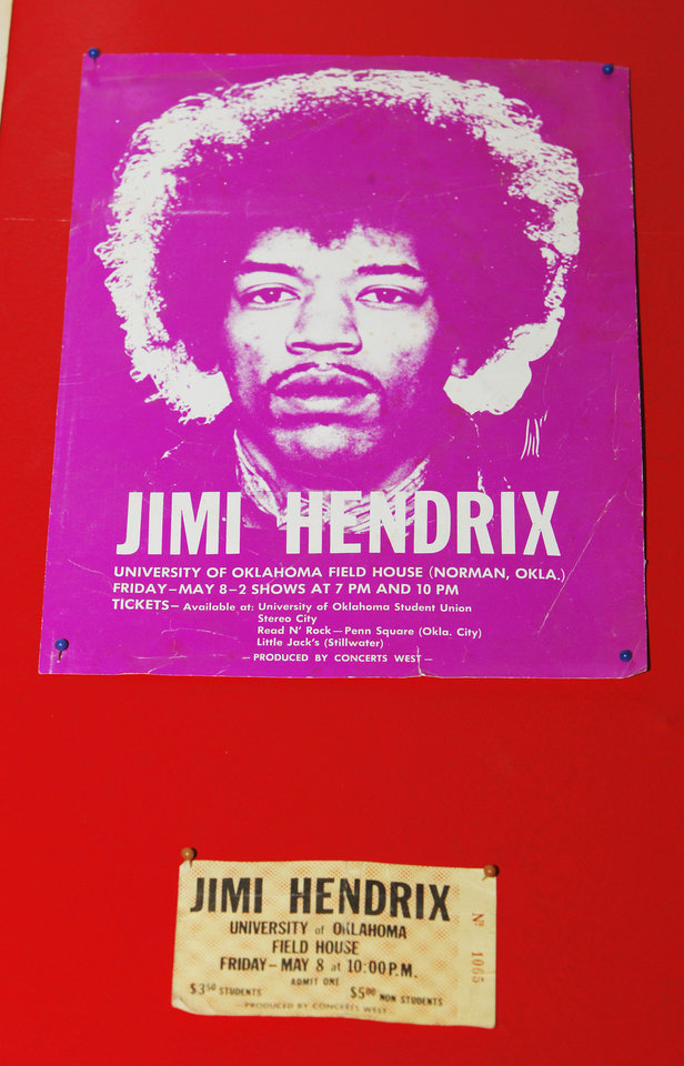 Photo - Jimi Hendrix poster and ticket from his University of Oklahoma concert on display inside John Dunning's Trolley Stop Record Shop in Oklahoma City Thursday, July 19, 2012.  Photo by Paul B. Southerland, The Oklahoman