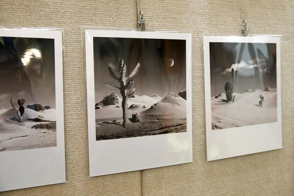 Photo - Prints by Sam Charboneau, the first artist in residence at the new Paseo Arts and Creativity Center, are exhibited inside the center Friday, Aug. 7, 2020. [Bryan Terry/The Oklahoman]