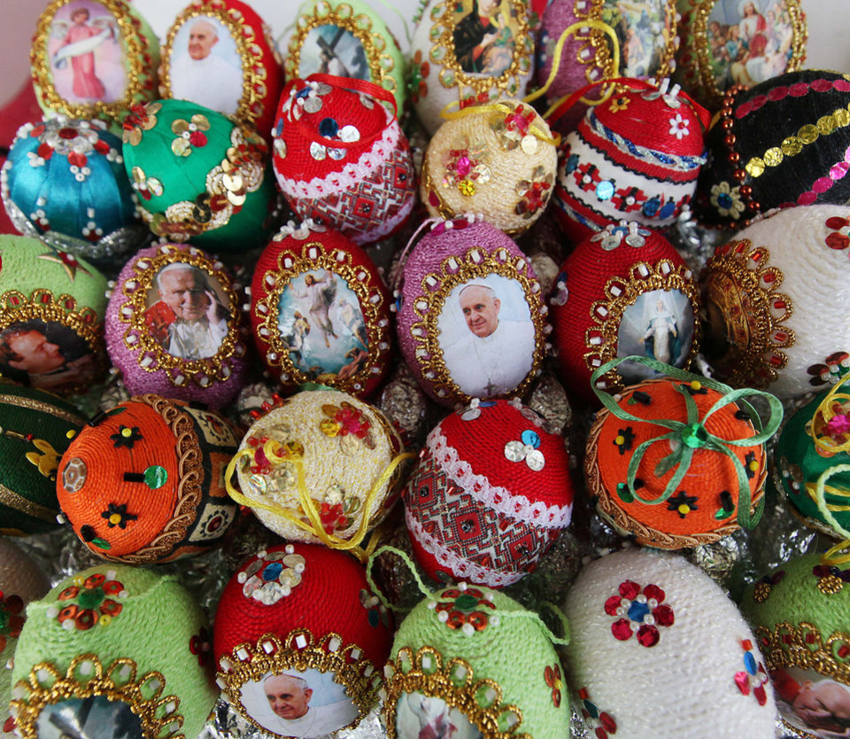 Handmade Easter Eggs for sale in Warsaw, Poland, Saturday, April 12, 2014, a day ahead of Palm Sunday, which opens the Holy Week that ends with Easter Sunday, the most important Catholic holiday. (AP Photo/Czarek Sokolowski)