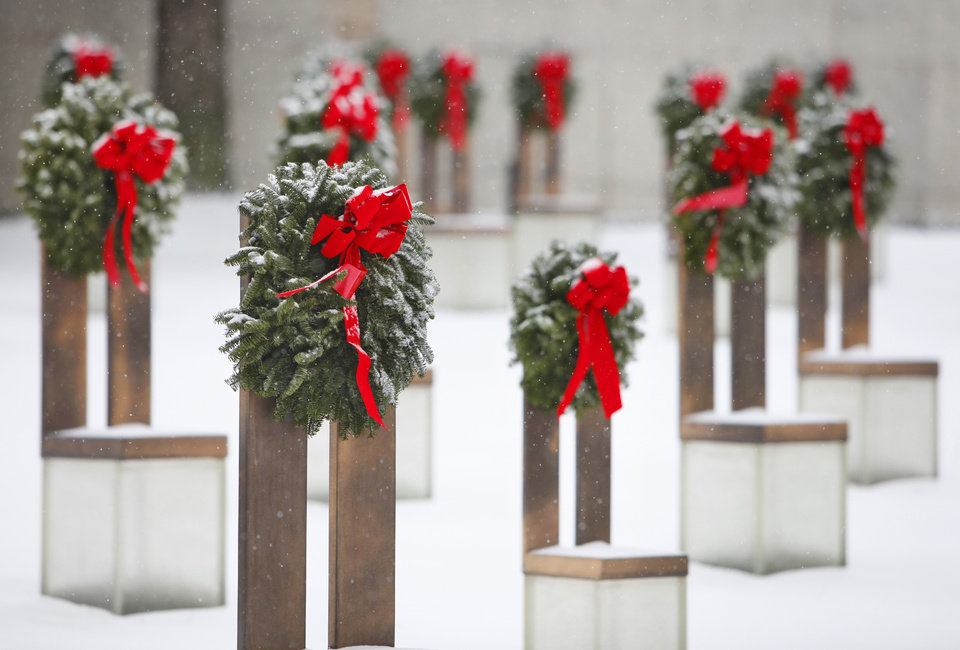 Snow art. Snow covered wreaths on the chairs at the Oklahoma City Bombing Memorial, Friday, December 28, 2012.  Photo By David McDaniel/The Oklahoman