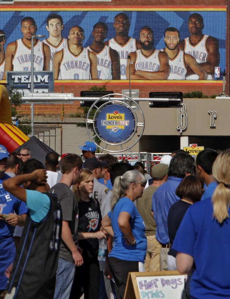 Thunder fans fill Thunder Alley during Game 2 of the NBA Finals between the Oklahoma City Thunder and the Miami Heat at Chesapeake Energy Arena in Oklahoma City, Thursday, June 14, 2012. Photo by Chris Landsberger, The Oklahoman