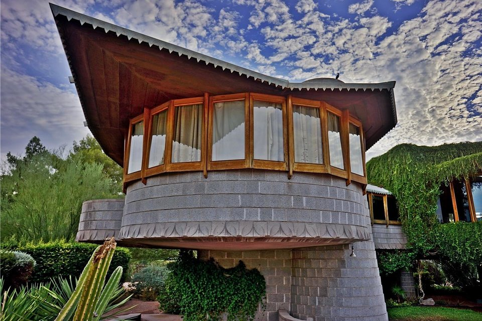 This undated image provided by the Frank Lloyd Wright Building Conservancy shows the home that Wright, the famous architect, built for his son in Phoenix, Ariz.. The city council is considering granting the house landmark designation to temporarily protect it from being torn down by the developer who currently owns it. In the meantime, along with other historic homes on self-guided tours, it�s one of a number of free things to see and do in Phoenix. (AP Photo/Frank Lloyd Wright Building Conservancy, Scott Jarson, azarchitecture.com)