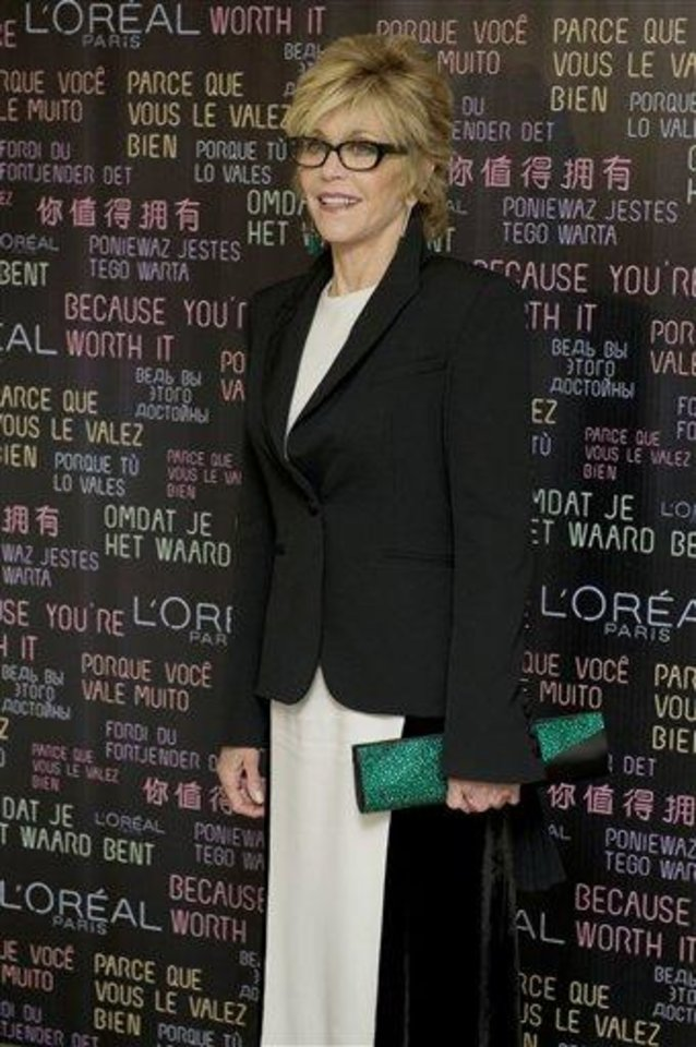 Photo - Actress Jane Fonda arrives for the L'Oreal party at the 65th international film festival, in Cannes, southern France, Thursday, May 17, 2012. (AP Photo/Jonathan Short)