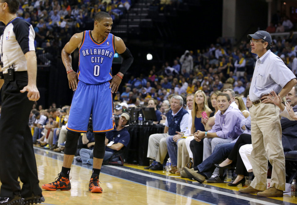 Oklahoma City's Russell Westbrook (0) talks with Memphis fans during Game 6 in the first round of the NBA playoffs between the Oklahoma City Thunder and the Memphis Grizzlies at FedExForum in Memphis, Tenn., Thursday, May 1, 2014. Oklahoma City won 104-84. Photo by Bryan Terry, The Oklahoman