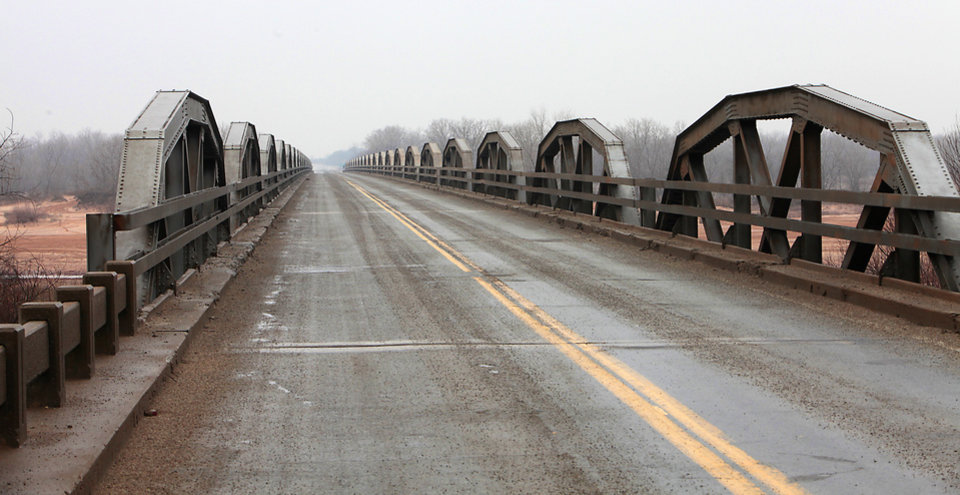 Photo -      Shown is the State Highway 79 Red River bridge near Waurika.   David McDaniel -  The Oklahoman