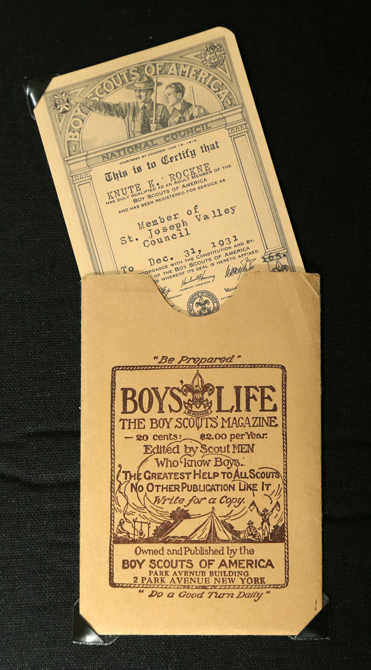 A Boy Scouts membership card for legendary Notre Dame football coach Knute Rockne, part of a collection of memorabilia owned by Chris Knute Kochendorfer, great grandson of Rockne, in Oklahoma City, Wednesday, Oct. 24, 2012. Photo by Nate Billings, The Oklahoman