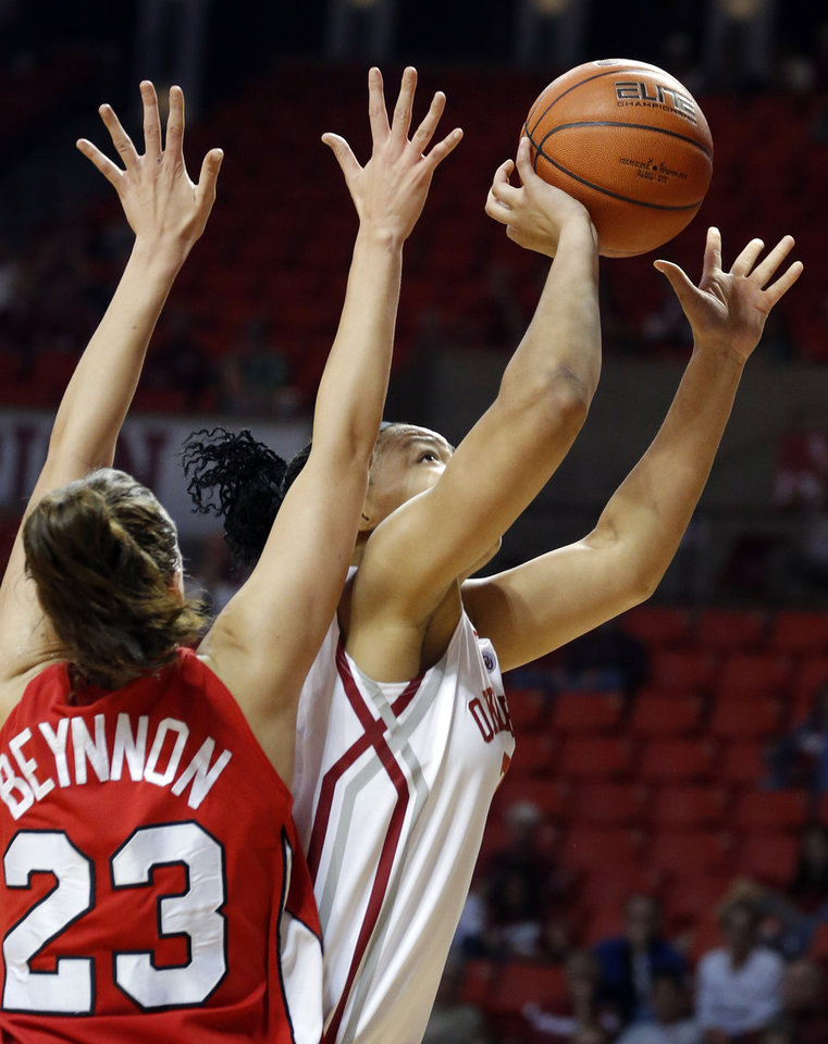 Photo - /touduring the women's college basketball game between the University of Oklahoma and Marist at Lloyd Noble Center in Norman, Okla.,  Sunday,Dec. 2, 2012. Photo by Sarah Phipps, The Oklahoman