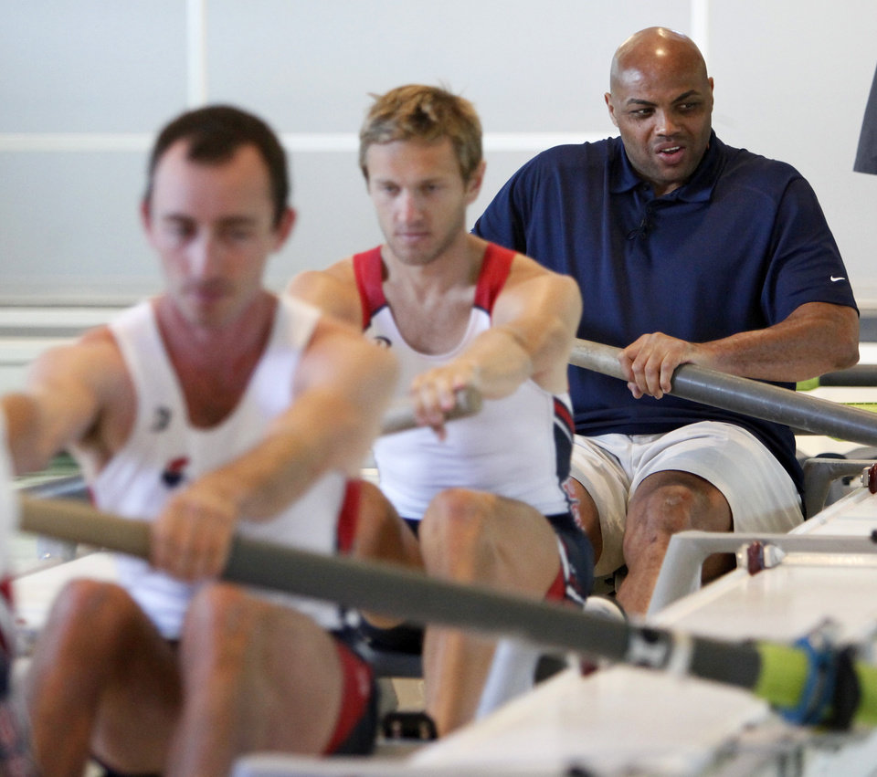 Photo - Charles Barkley tries the Dynamic Propulsion Rowing Tank at the Devon Boathouse in Oklahoma City, Friday, June 1, 2012. Barkley visited the boathouse as part of a tour of Oklahoma City. Photo by Nate Billings, The Oklahoman
