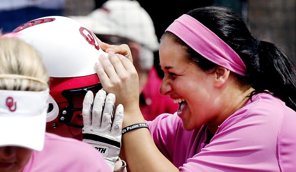 Lauren Chamberlain gets in the face of of Brittany Williams after her home run hit as the University of Oklahoma (OU) Sooners play the Baylor Bears in NCAA college softball at Marita Hines Field on Saturday, April 6, 2013  in Norman, Okla. Photo by Steve Sisney, The Oklahoman