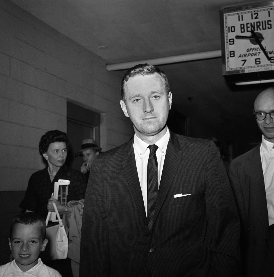 Photo - FILE - In this May 21, 1961 file photo, John Seigenthaler, the Kennedy administration's chief negotiator with the governor of Alabama during the 1961 Freedom Rides, walks through the airport in Montgemery, Ala. A day earlier, he was attacked and knocked unconscious by a mob of Klansmen in Montgomery, Ala., as tried to aid a young protester who was being pursued by the rioters. Seigenthaler, the journalist who edited The Tennessean newspaper, helped shape USA Today and worked for civil rights during the Kennedy administration, died Friday, July 11, 2014. He was 86. (AP Photo)