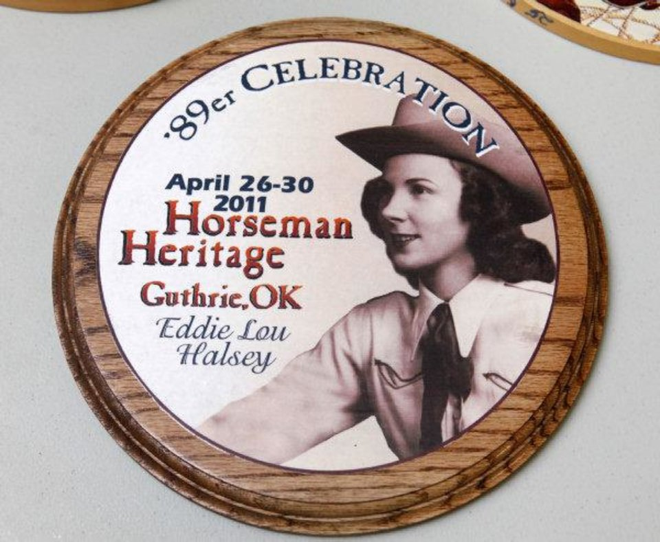 Photo - Eddie Lou Halsey's picture is on the button this year for Guthrie's 89er Day festivities. Halsey was the 89er Queen in 1939. She will be the parade marshal this year. PHOTO BY PAUL HELLSTERN, THE OKLAHOMAN