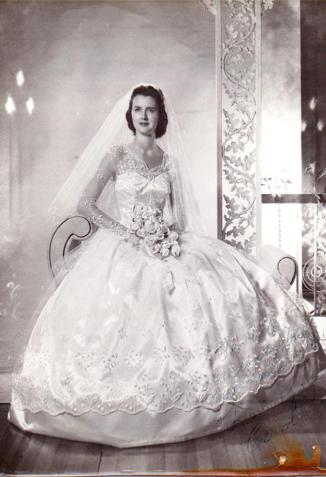 Photo - WEDDING DRESS: Carol Kay Wheeler Ward found the Vogue pattern for her wedding gown at an Oklahoma City store. Ward picked out the fabric while in Oklahoma City in just a few minutes. Her daughter, Prentice Redman, said is humorous because she is very indecisive. On July 28, 1957, Ward said,