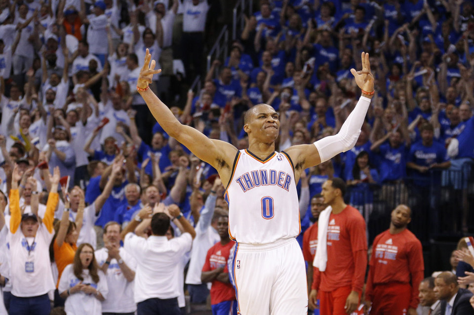 Photo - Russell Westbrook (0) during Game 2 of the Western Conference semifinals in the NBA playoffs between the Oklahoma City Thunder and the Los Angeles Clippers at Chesapeake Energy Arena in Oklahoma City, Wednesday, May 7, 2014. Photo by Bryan Terry, The Oklahoman