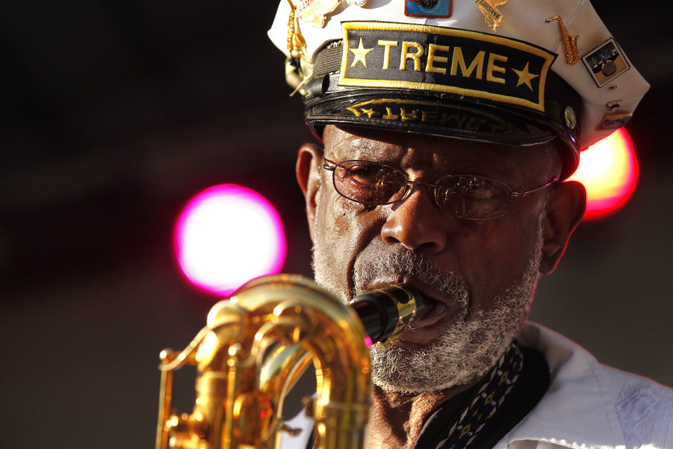 Photo -   Roger Lewis, with the Treme Brass Band, performs at a sunrise concert marking International Jazz Day in New Orleans, Monday, April 30, 2012. The performance, at Congo Square near the French Quarter, is one of two in the United States Monday; the other is in the evening in New York. Thousands of people across the globe are expected to participate in International Jazz Day, including events in Belgium, France, Brazil, Algeria and Russia. (AP Photo/Gerald Herbert)