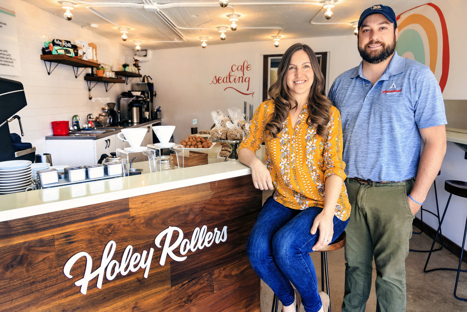 Photo - Andrea and Josh Gautreaux at Holey Rollers, which has found some success during the pandemic. [The Oklahoman Archives]