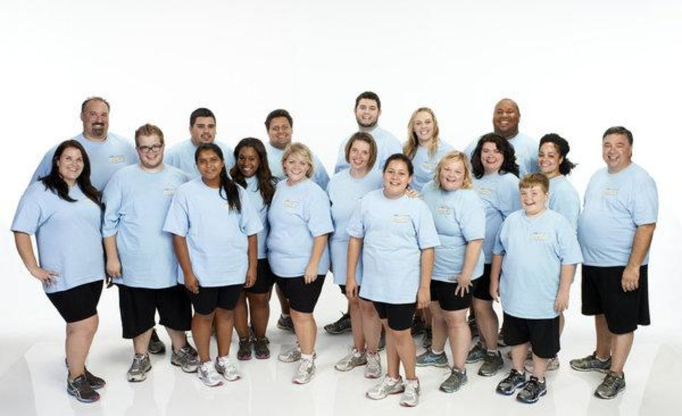 "THE BIGGEST LOSER -- Season: 14 -- Pictured: (l-r) Dannielle ""Danni"" Allen, Joseph ""Joe"" Ostaszewski, Jackson Carter, Thomas ""TC"" Pool, Sunny Chandrasekar, Alex Reid, Jeff Nichols, Catherine ""Cate"" Laughlan, Lisa Rambo, Nathan Montogomery, Lindsay Bravo, Nicole ""Nikki"" Davis, Regina ""Gina"" McDonald, Pamela ""Pam"" Geil, Michael Dorsey, Noah ""Biingo"" Gray, Francelina Morillo, David Jones -- (Photo by: Chris Haston/NBC)"