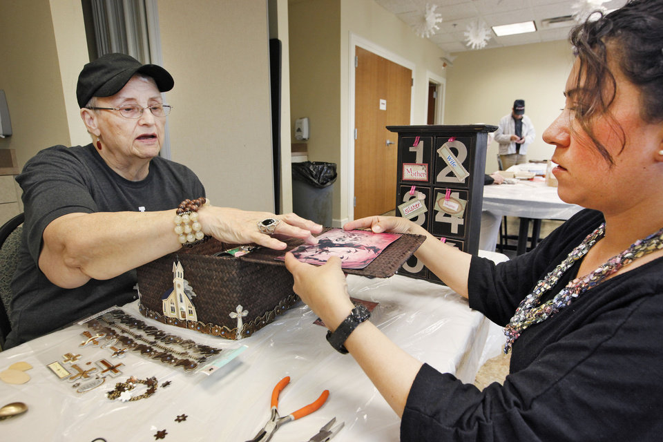 University of Central Oklahoma senior Ellie Ness, right, works with Jerri Garlett on the Intergenerational Story Box art project at the Edmond Senior Center.  Photos By David McDaniel, The Oklahoman