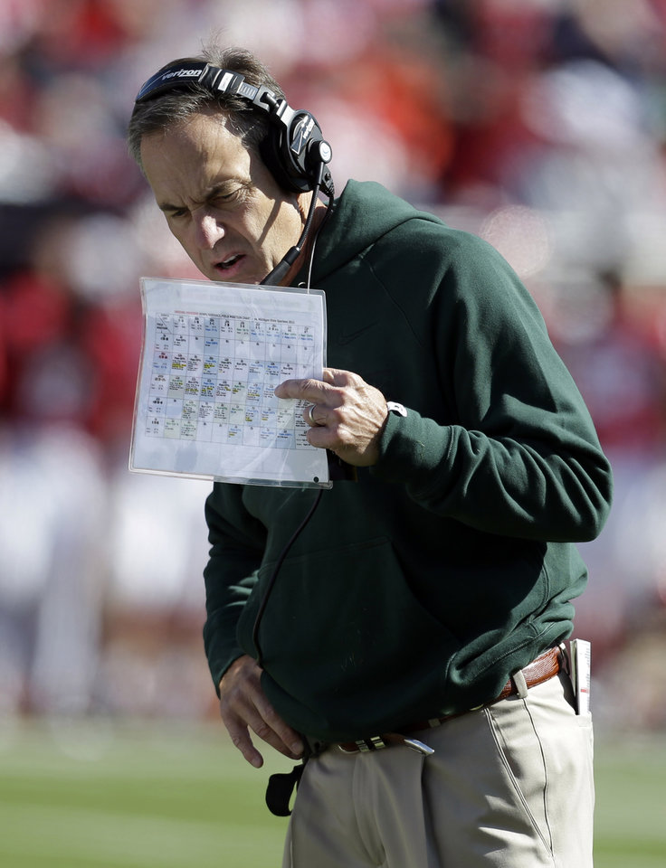 Michigan State head coach Mark Dantonio watches from the sideline during the second half of an NCAA college football game against Indiana Saturday, Oct. 6, 2012, in Bloomington, Ind. Michigan State defeated Indiana 31-27. (AP Photo/Darron Cummings)