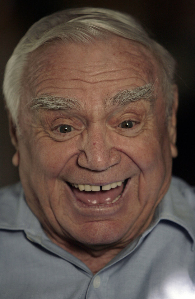 Photo - Actor Ernest Borgnine responds to a question Wednesday, Dec. 13, 2007, in Beverly Hills, Calif., after being nominated for a Golden Globes' best performance by an actor in a mini-series or motion picture made for television in the Hallmark Channel film