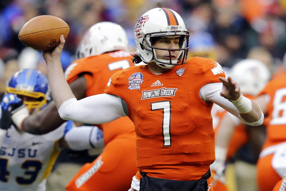Bowling Green quarterback Matt Schilz looks to pass during the first half of the Military Bowl NCAA college football game against San Jose State at RFK Stadium, Thursday, Dec. 27, 2012, in Washington. (AP Photo/Alex Brandon)