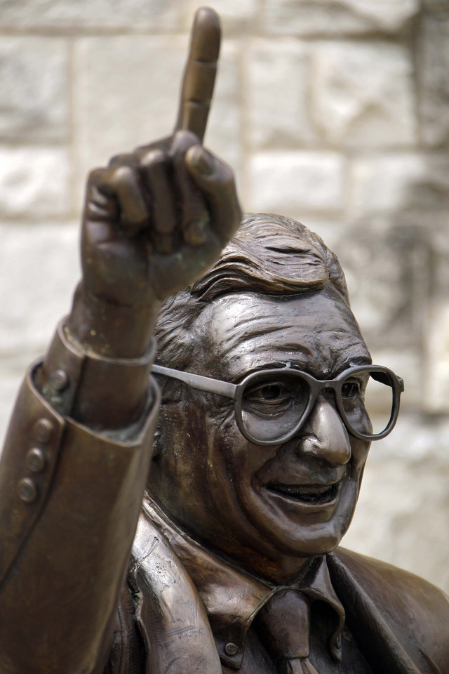 Photo -   The statue of former Penn State University head football coach Joe Paterno stands outside Beaver Stadium in State College, Pa., Friday, July 13, 2012. After an eight-month inquiry, former FBI director Louis Freeh's firm produced a 267-page report that concluded that Paterno and other top Penn State officials hushed up child sex abuse allegations against former Penn State assistant football coach Jerry Sandusky for more than a decade for fear of bad publicity, allowing Sandusky to prey on other youngsters. The revelations contained in the report have stirred a debate over whether the statue should remain. (AP Photo/Gene J. Puskar)