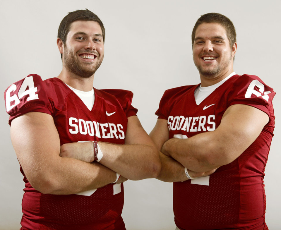 The University of Oklahoma's Gabe Ikard and Ben Habern pose for a photo during OU's college football media day in Norman, Okla., Saturday August 6, 2011. Photo by Bryan Terry, The Oklahoman