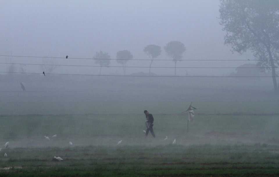 An Indian man feeds migratory birds on a cold and foggy morning in Danwar, on the outskirts of Allahabad, India, Monday, Dec. 31, 2012. North India continues to face extreme weather conditions with dense fog affecting flights and trains. (AP Photo/Rajesh Kumar Singh)