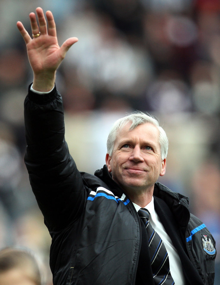 <p>Newcastle United's manager Alan Pardew is seen at the end of their English Premier League soccer match against Manchester City at Newcastle United at the Sports Direct Arena, Newcastle, England, Sunday, May 6, 2012. (AP Photo/Scott Heppell)</p>