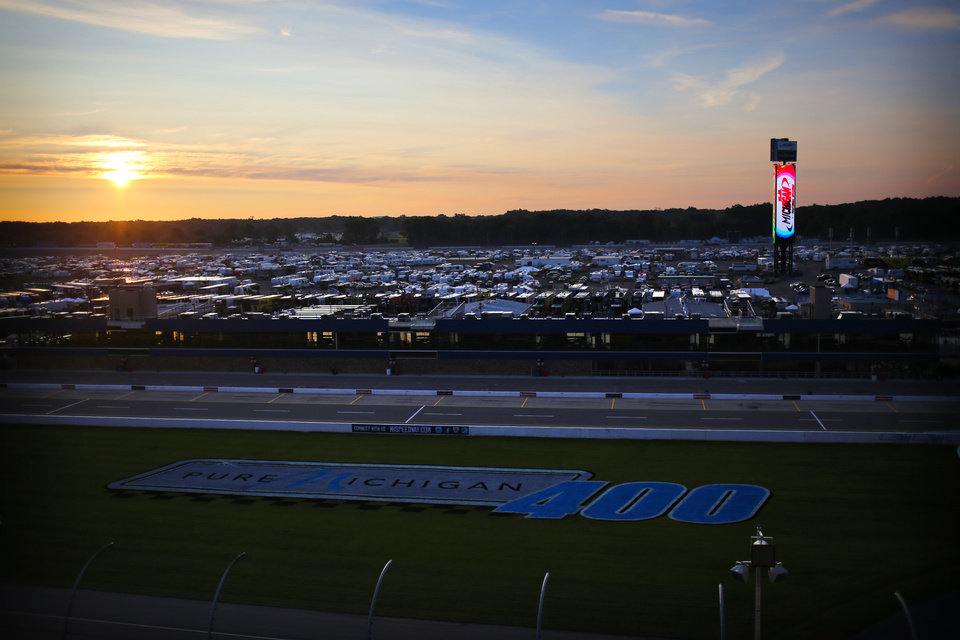 Photo - The sun rise over the race track at Michigan International Speedway in Brooklyn, Mich., Friday, Aug. 15, 2014. The track hosts NASCAR auto races this weekend. (AP Photo/The Jackson Citizen Patriot, Danielle Duval) ALL LOCAL TELEVISION OUT; LOCAL TELEVISION INTERNET OUT