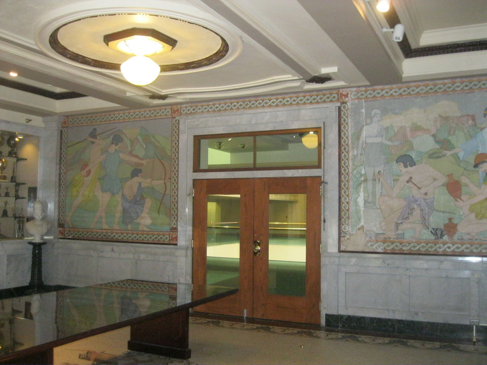 Photo - Rare murals painted in 1929 by Olinka B. Hrdy are shown in this photo taken before they were removed for restoration.  Provided