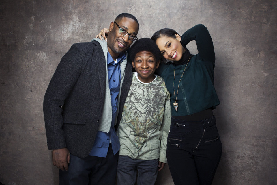 From left, director George Tillman Jr., actor Skylan Brooks and singer Alicia Keys pose for a portrait during the Sundance Film Festival on Friday, Jan. 18, 2013, in Park City, Utah. (Photo by Victorial Will/Invision/AP)