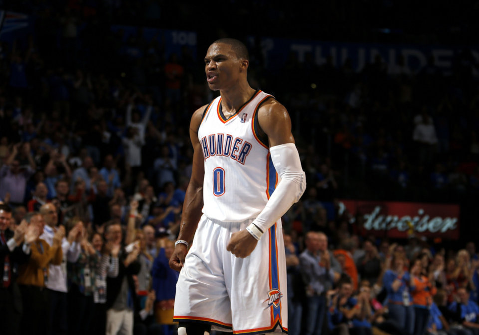 Oklahoma City\'s Russell Westbrook (0) celebrates a play during the NBA game between the Oklahoma City and the Utah Jazz and the Chesapeake Energy Arena, Friday,Nov. 30, 2012. Photo by Sarah Phipps, The Oklahoman