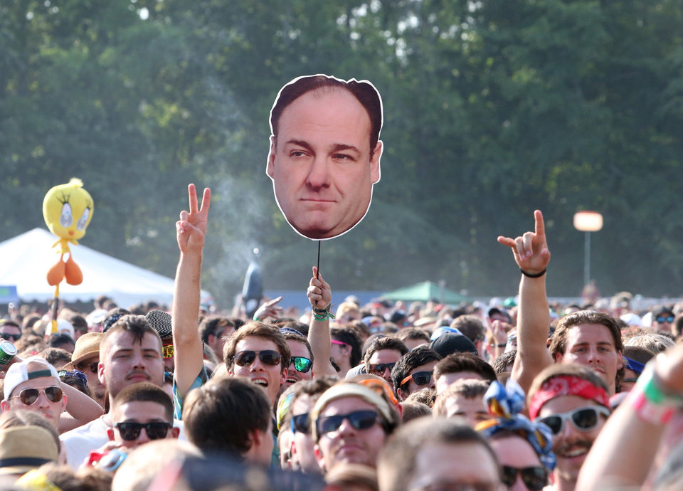 Photo - Concert goers display a photo of actor James Gandolfini during Day 2 of the Firefly Music Festival at The Woodlands on Saturday, June 22, 2013 in Dover, Del. (Photo by Owen Sweeney/Invision/AP)