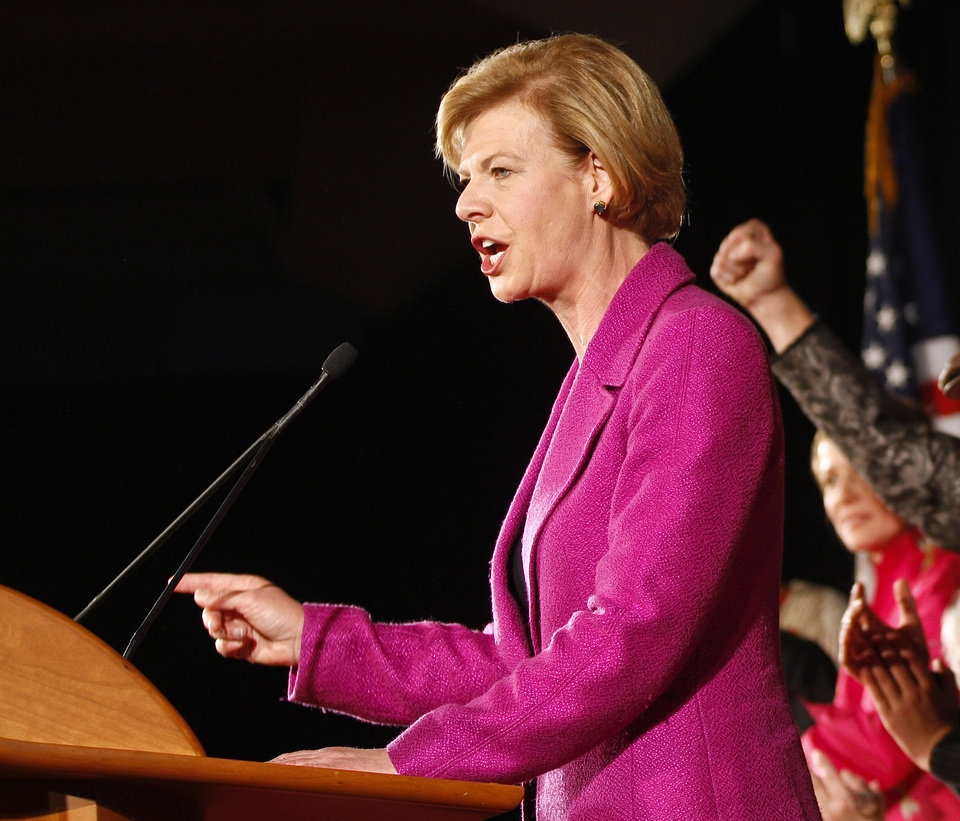 FILE - In this Nov. 6, 2012 file photo, Sen.-elect, current Rep. Tammy Baldwin, D-Wis., make her victory speech, in Madison, Wis. (AP Photo/Andy Manis, File)