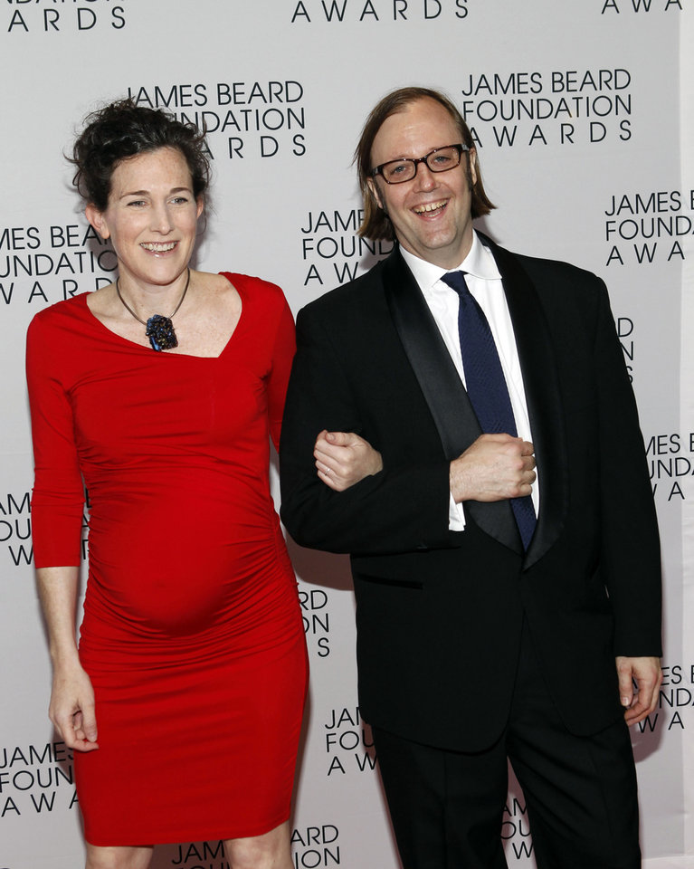 Photo -   Chef Wylie Dufresne his wife Maile Carpenter arrive for the James Beard Foundation Awards, Monday, May 7, 2012, in New York. (AP Photo/Jason DeCrow)
