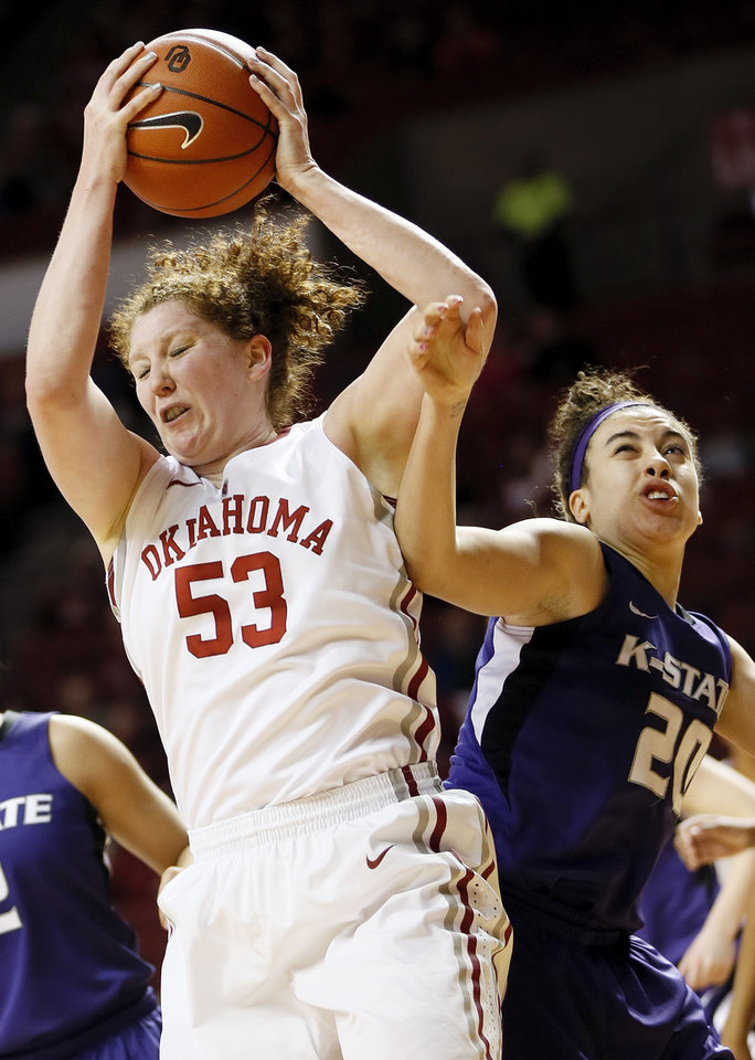 Oklahoma's Joanna McFarland (53) grabs a rebound next to Kansas State's Brianna Craig (20) during an NCAA women's college basketball game between the University of Oklahoma (OU) and Kansas State at Lloyd Noble Center in Norman, Okla., Wednesday, Feb. 20, 2013. Photo by Nate Billings, The Oklahoman