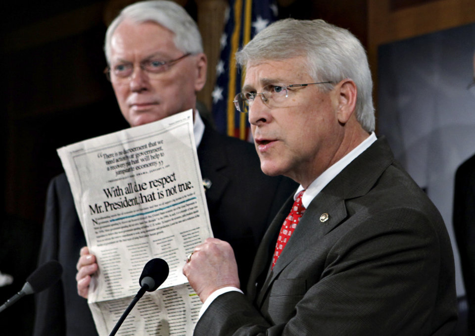 Photo - FILE - In this Jan. 29, 2009, file photo Sen. Roger Wicker, R-Miss., speaks during a news conference at the Capitol in Washington, Senate Majority Leader Reid said Tuesday, April 16, 2013, that letter with ricin or another poison was sent to Wicker. (AP Photo/J. Scott Applewhite, File)