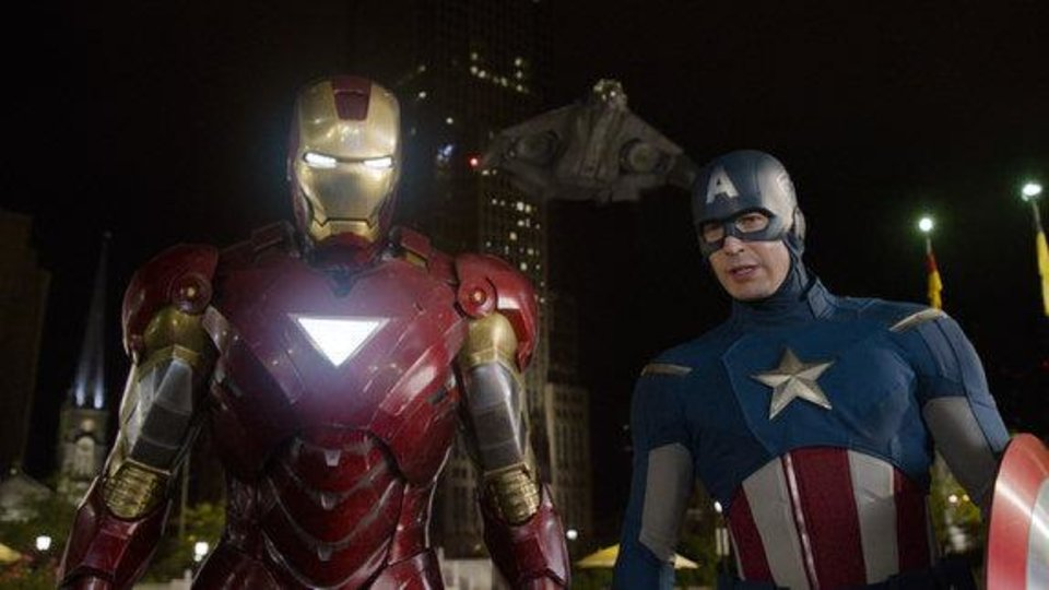 Photo - Iron Man (Robert Downey Jr.) and Captain America (Chris Evans) appear in a scene from
