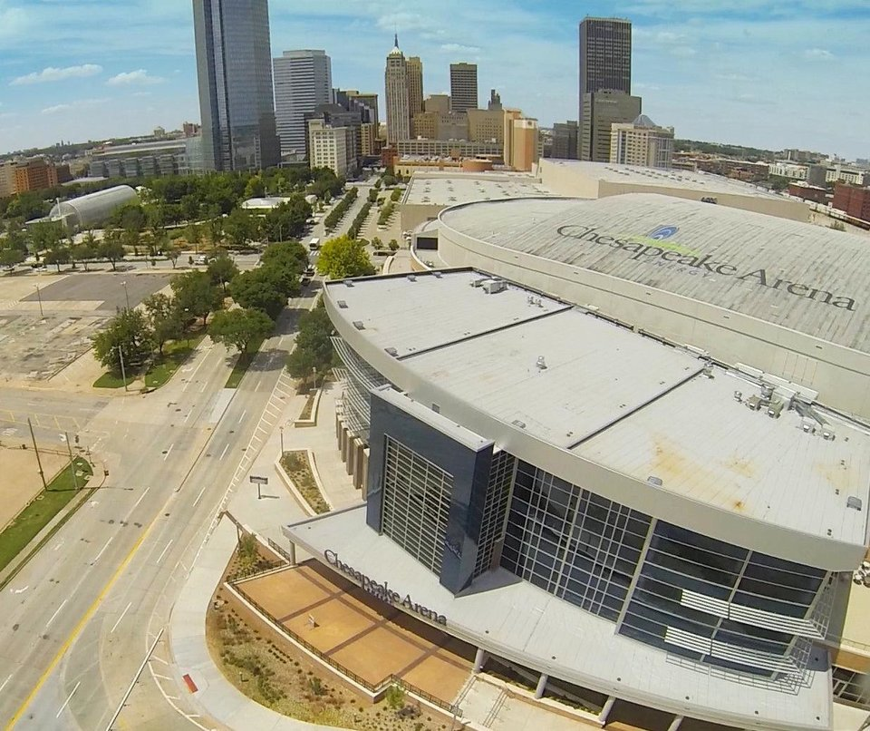 Chesapeake Energy Arena as seen from Price Edwards & Co.'s drone. <strong> - PROVIDED BY PRICE EDWARDS & CO.</strong>