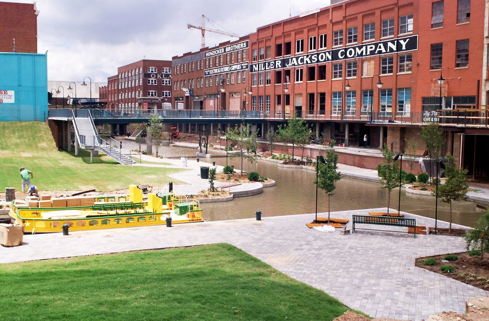 The Bricktown Canal, as seen from the Mickey Mantle Drive plaza, 1999. OKLAHOMAN ARCHIVE PHOTO