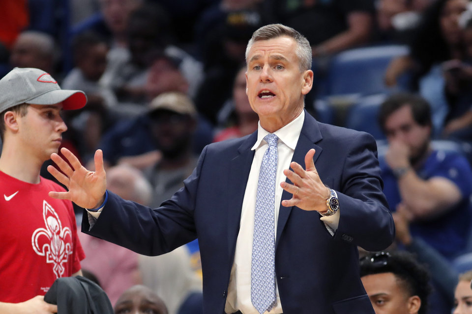 Photo - Oklahoma City Thunder head coach Billy Donovan shouts from the bench in the second half of an NBA basketball game against the New Orleans Pelicans in New Orleans, Sunday, Dec. 1, 2019. (AP Photo/Gerald Herbert)