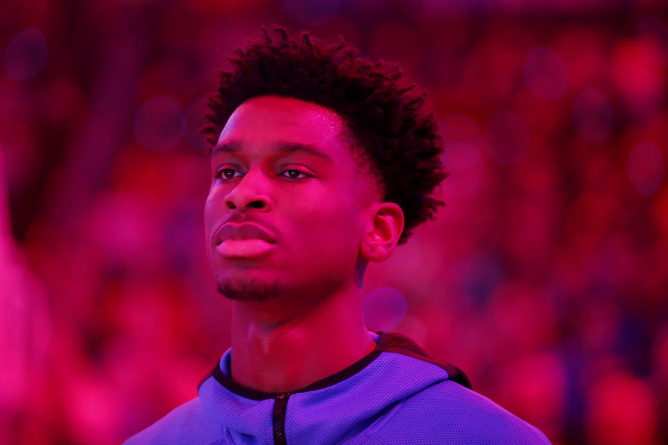 Photo - Oklahoma City's Shai Gilgeous-Alexander stands before an NBA basketball game between the Oklahoma City Thunder and the Dallas Mavericks at Chesapeake Energy Arena in Oklahoma City, Tuesday, Dec. 31, 2019. Oklahoma City won 106-101. [Bryan Terry/The Oklahoman]