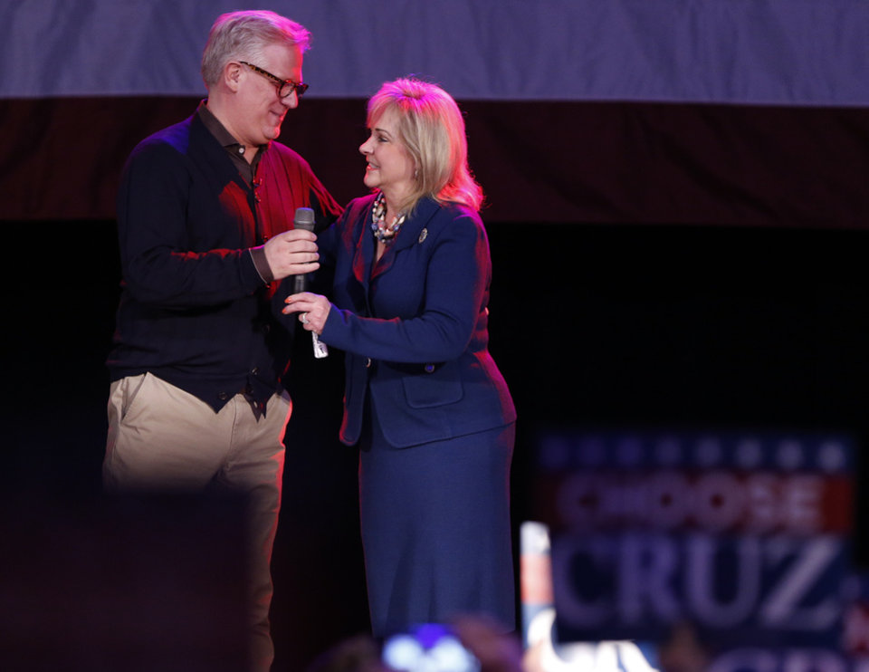 Photo - Oklahoma Governor Mary Fallin introduces Glenn Beck to introduce Republican presidential candidate Ted Cruz at the Chevy Bricktown Event Center on Sunday, Feb. 28, 2016 in Oklahoma City, Okla.  Photo by Steve Sisney, The Oklahoman